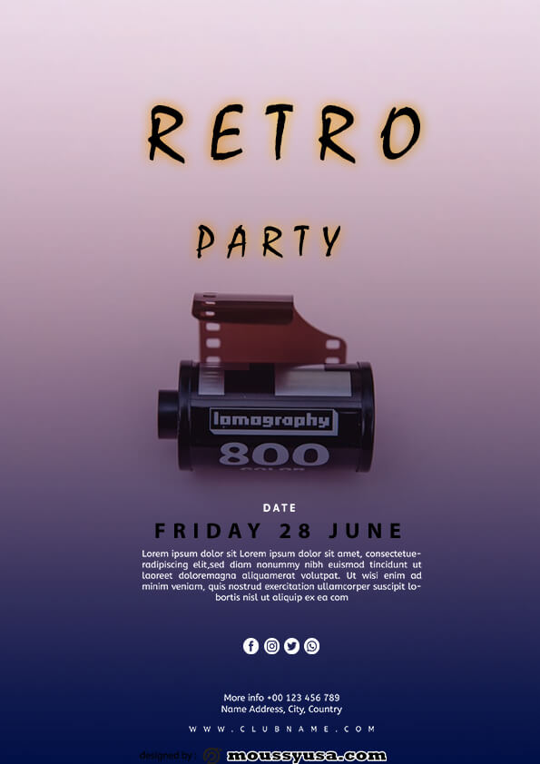 retro party flyer template sample