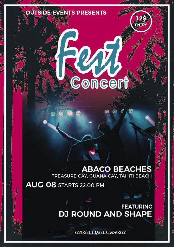 rock concert flyer design psd