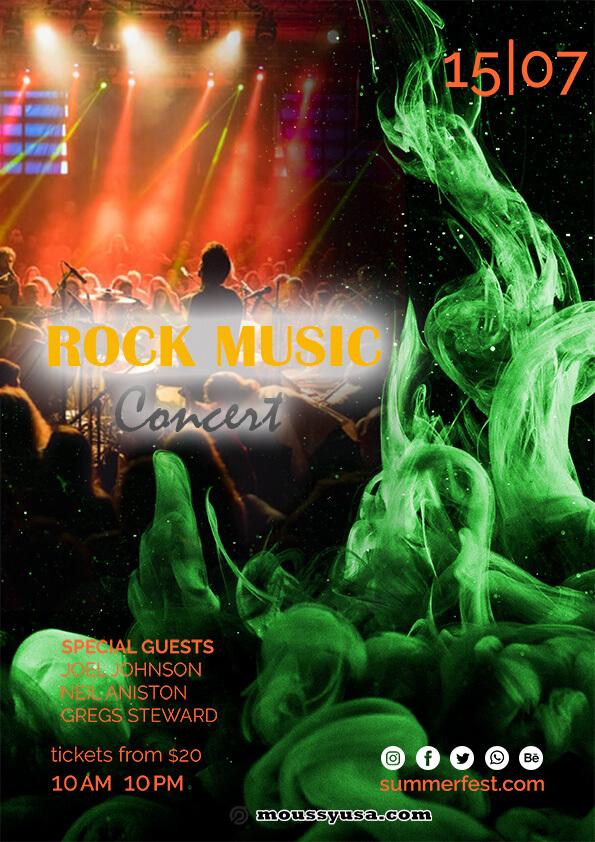 rock concert flyer design template