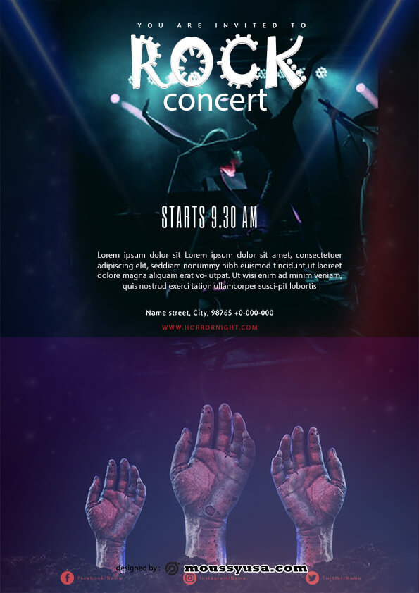 rock concert flyer template design