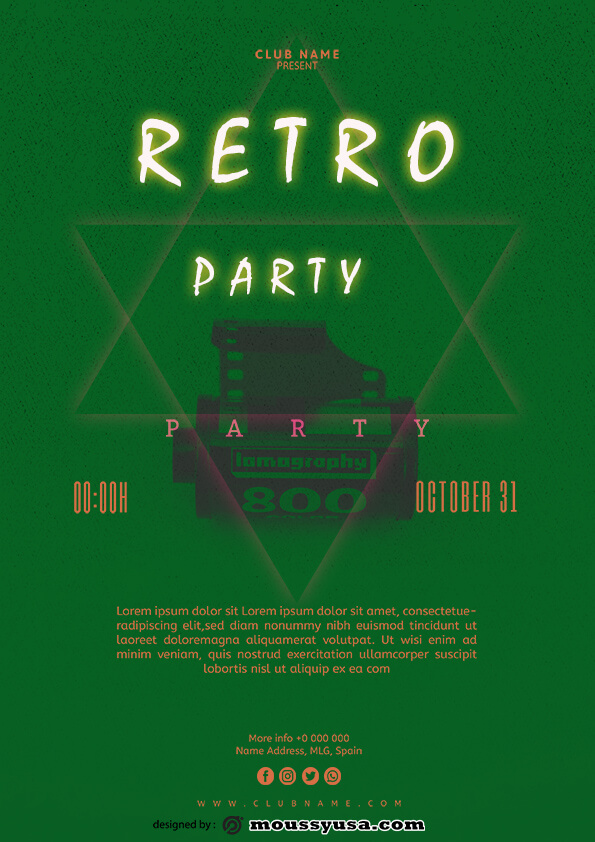 sample retro party flyer templates