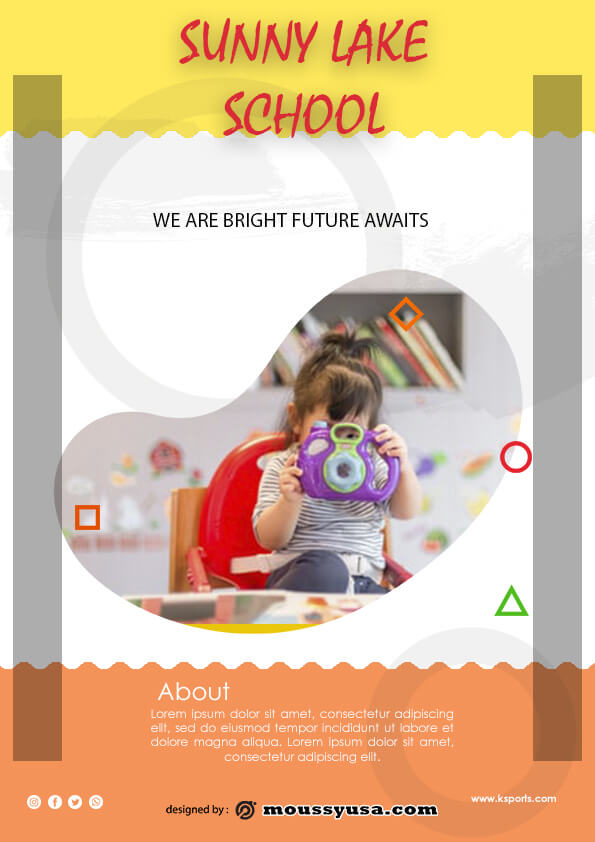 simple preschool flyer template design