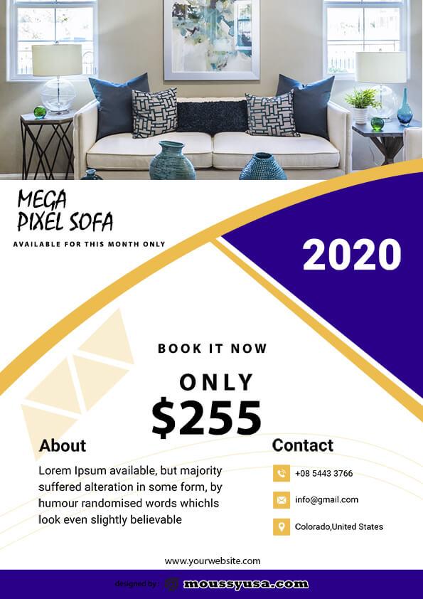 sofa mega sale flyer template sample