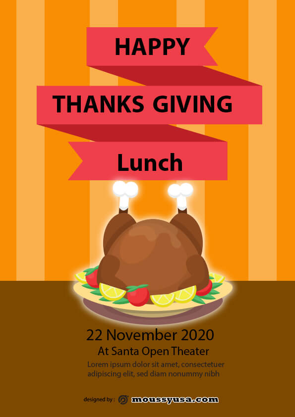 thanks giving lunch flyer design psd