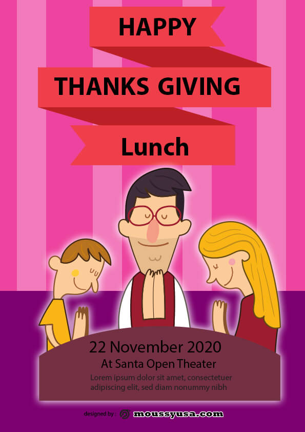 thanks giving lunch flyer design template