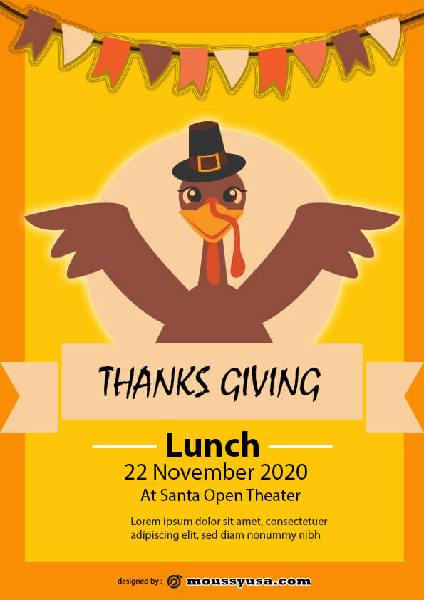 thanks giving lunch flyer template example