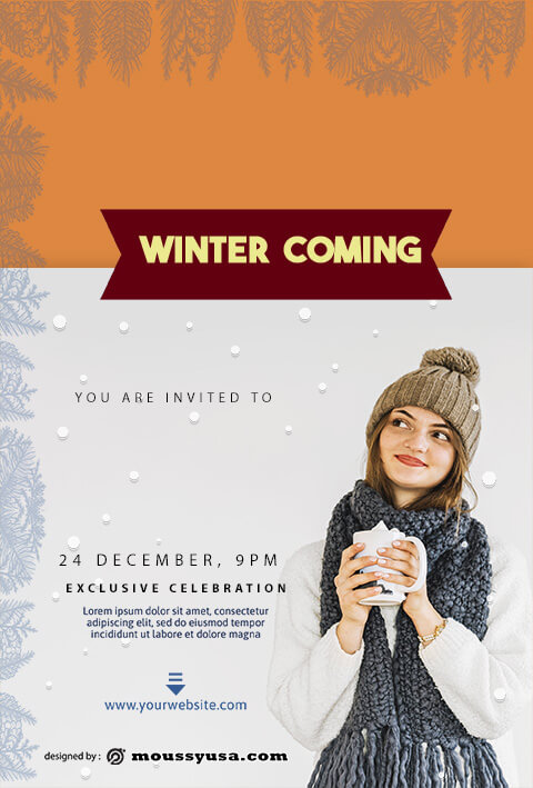 winter christmast party flyer template design