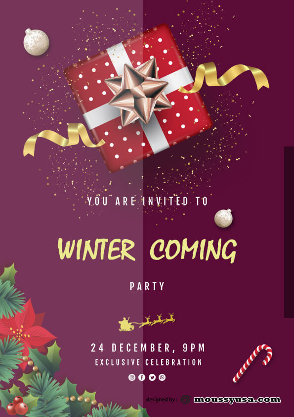 winter christmast party flyer template ideas