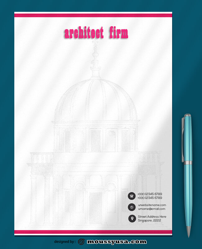 Architect Firm Letterhead Design PSD
