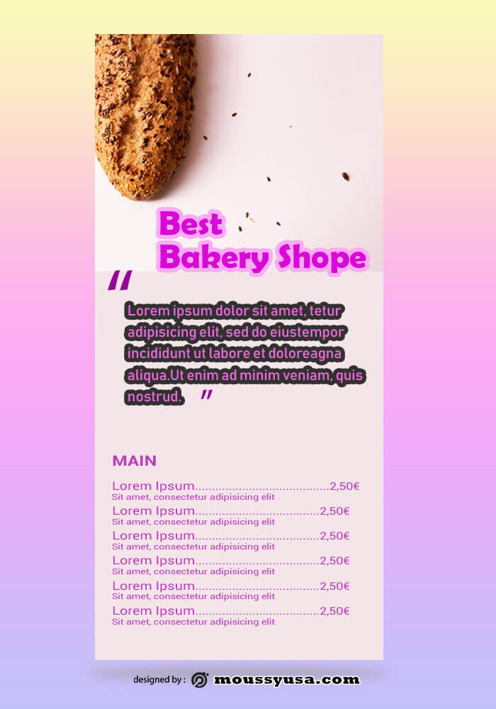 Bakery Rack Card Template Example