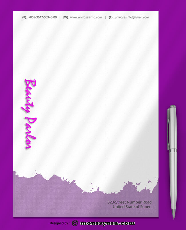 Beauty Parlor Letterhead Template Ideas