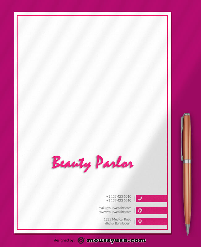 Beauty Parlor Letterhead Template Sample