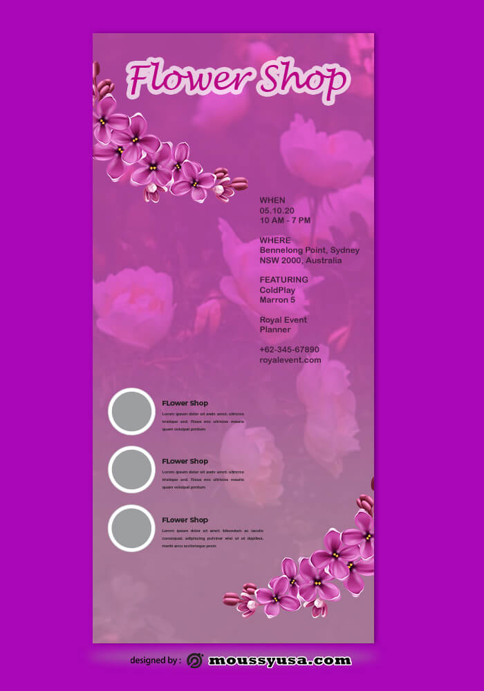 Flower Shop Rack Card Template Sample
