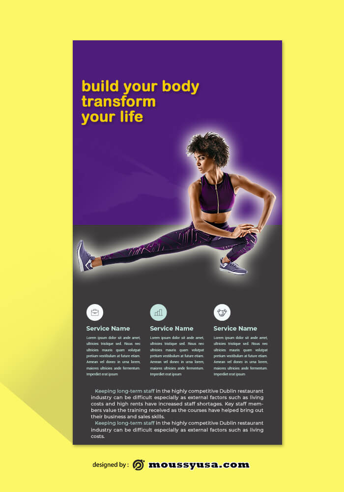 GYM Rack Card Template Example