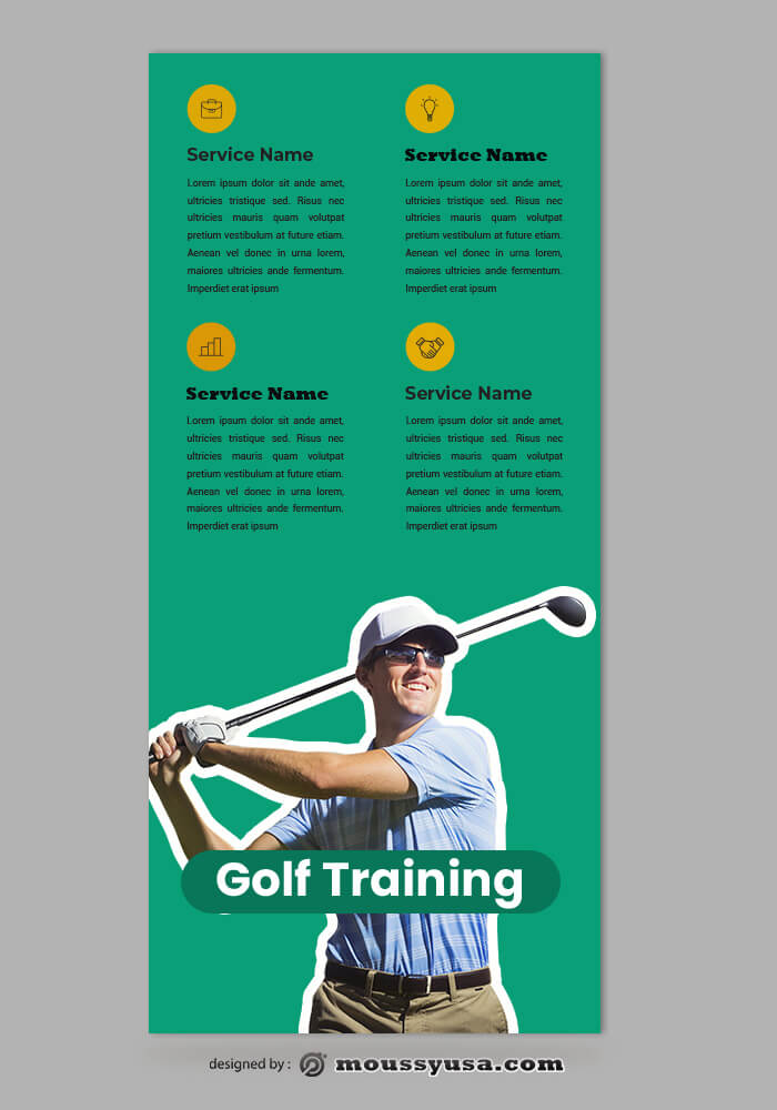 Golf Rack Card Templates Design