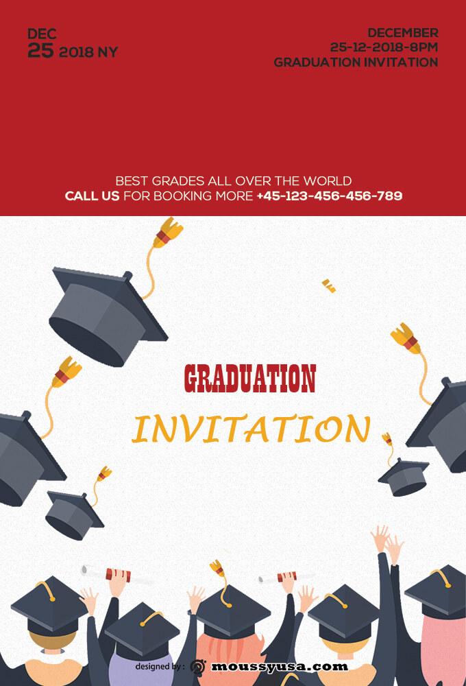 Graduation Invitation Design PSD