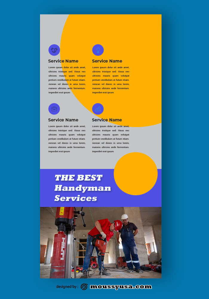 Handyman Service Rack Card Template Design