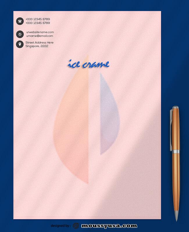 Ice Crame Letterhead Template Sample