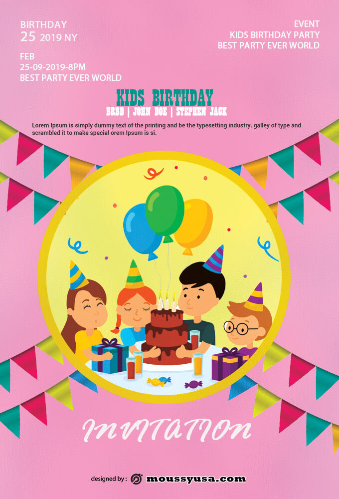 Kids Birthday Invitation Template Sample