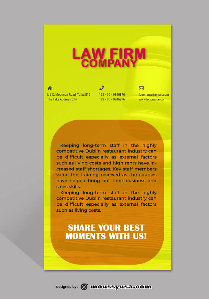 Law Frim Rack Card Template Example