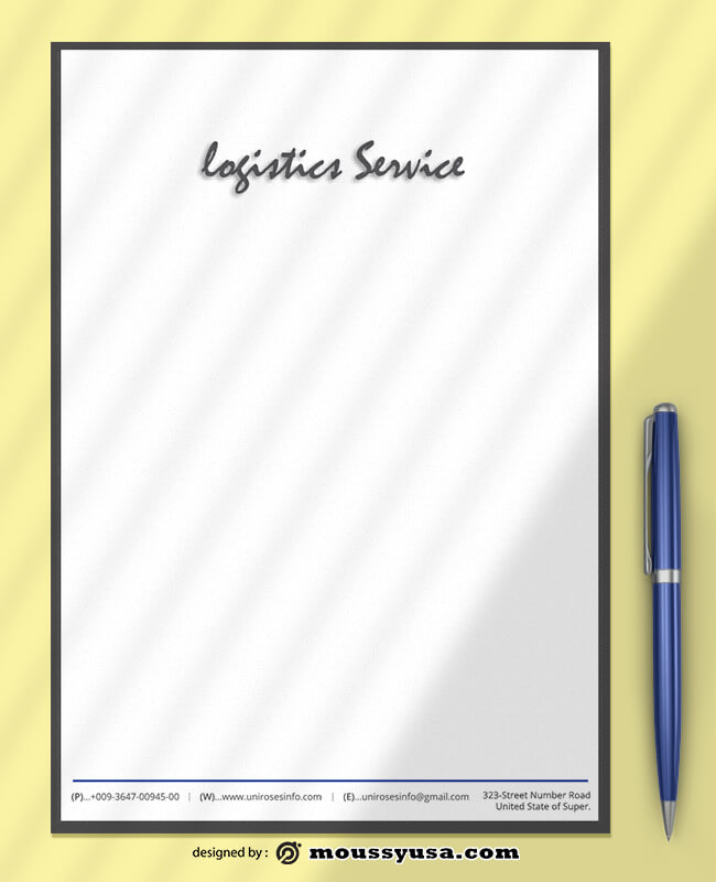 Logistics Service Letterhead Template Sample