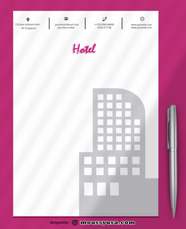 Modern Hotel Letterhead Design PSD