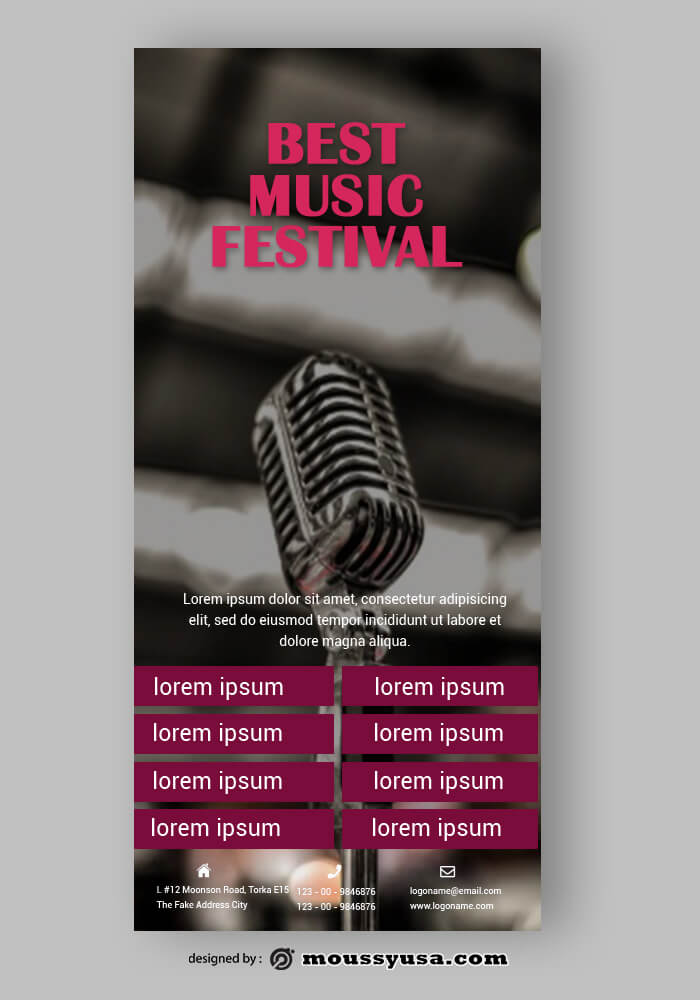 Music Festival Rack Card Template Design
