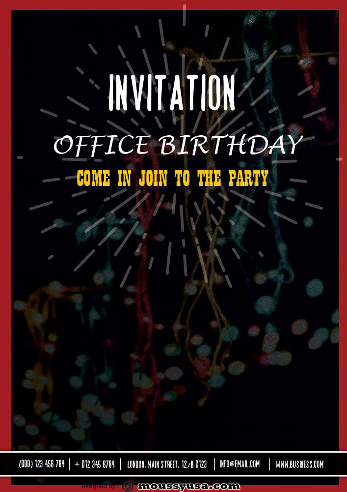 Office Birthday Invitation Design Ideas