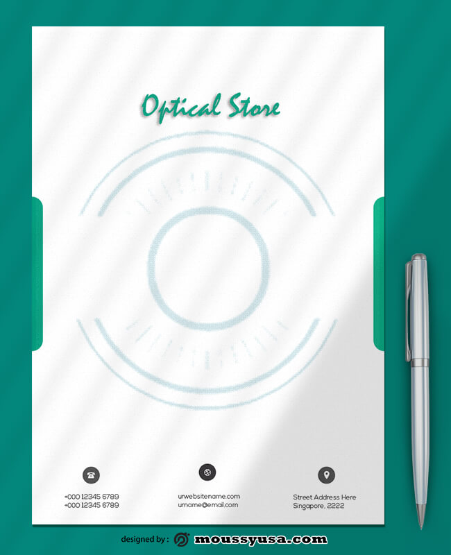 Optical Store Letterhead Design PSD