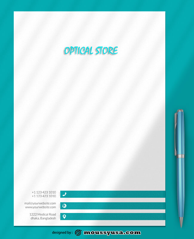 Optical Store Letterhead Design Template