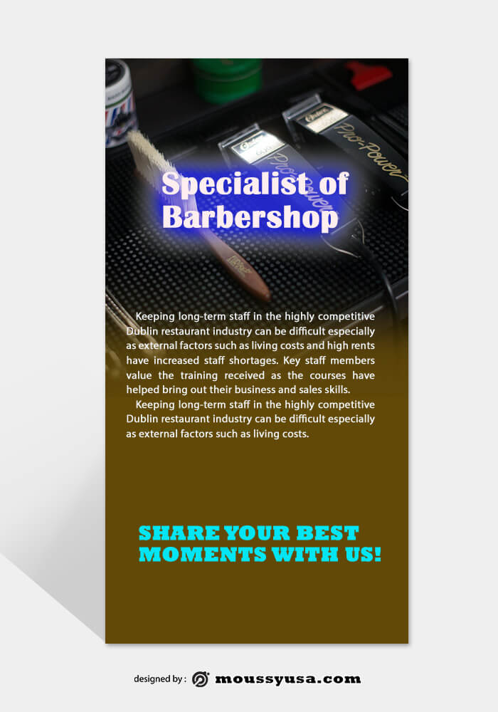 PSD Barbershop Rack Card Template