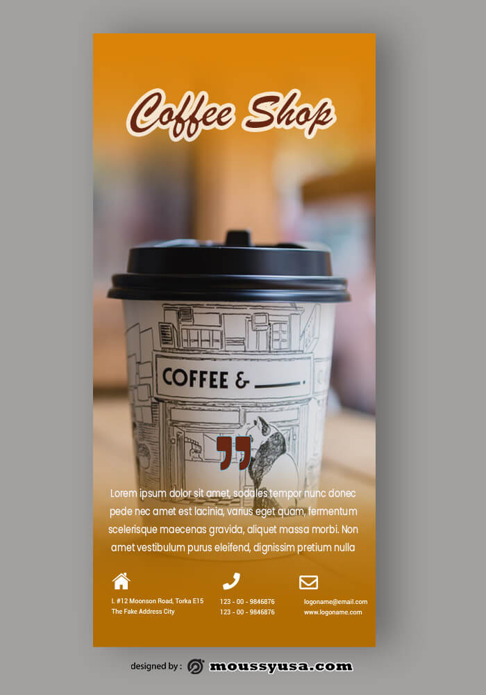 PSD Coffee Shop Rack Card Template Recovered