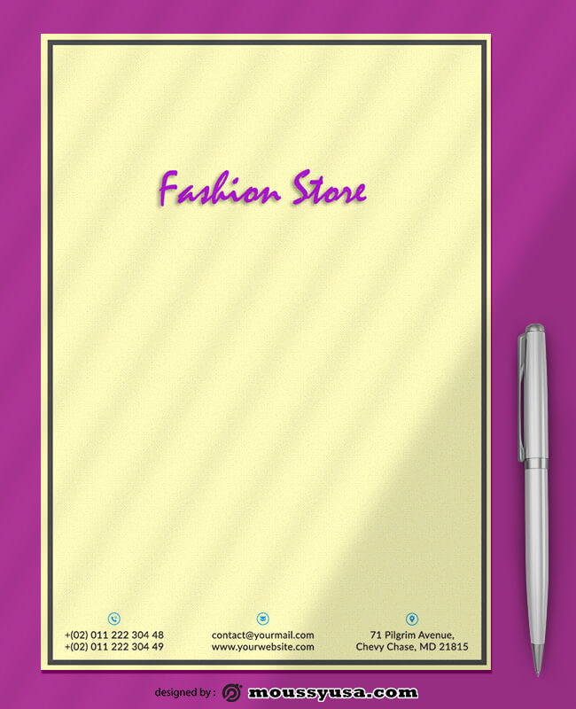 PSD Fashion Store Letterhead Template