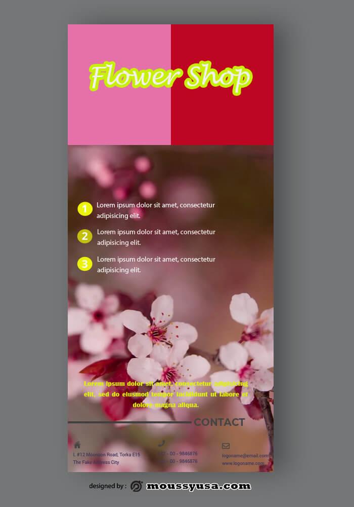 PSD Flower Shop Rack Card Template