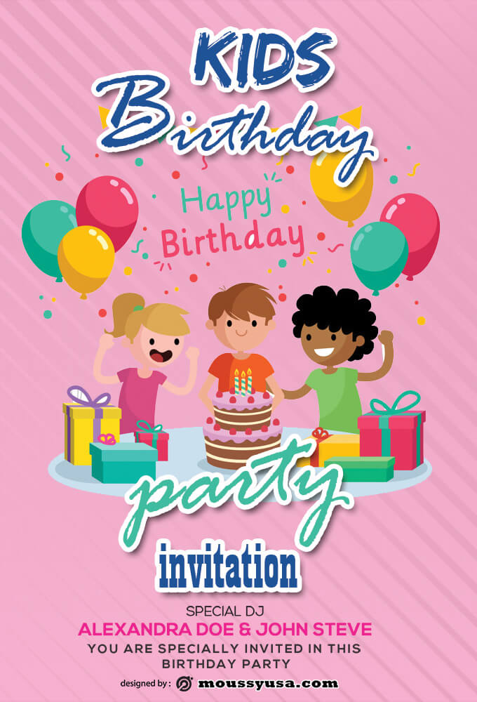 PSD Kids Birthday Invitation Template