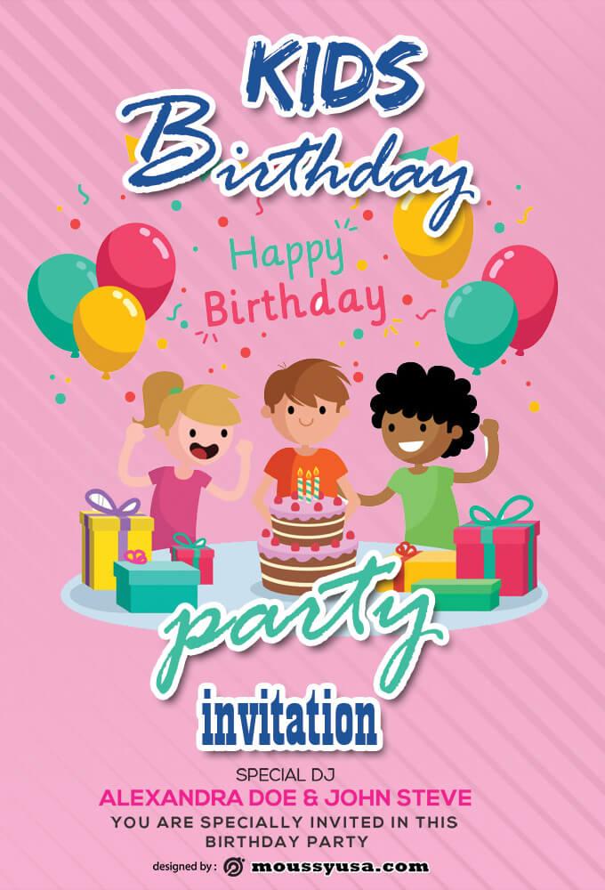 PSD Kids Birthday Invitation Template