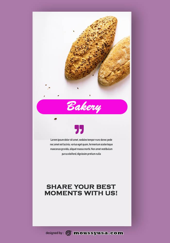 PSD Template For Bakery Rack Card