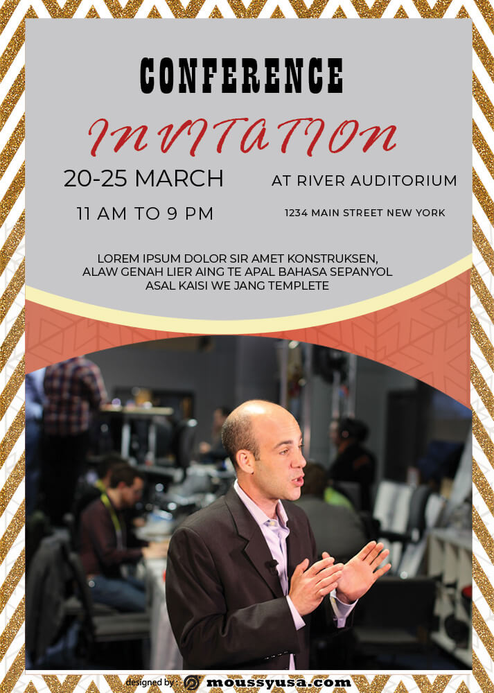 PSD Template For Conference Invitation