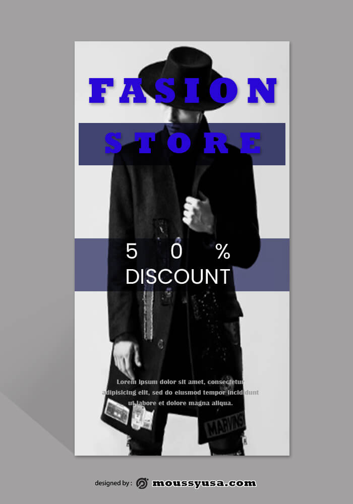 PSD Template For Fashion Rack Card
