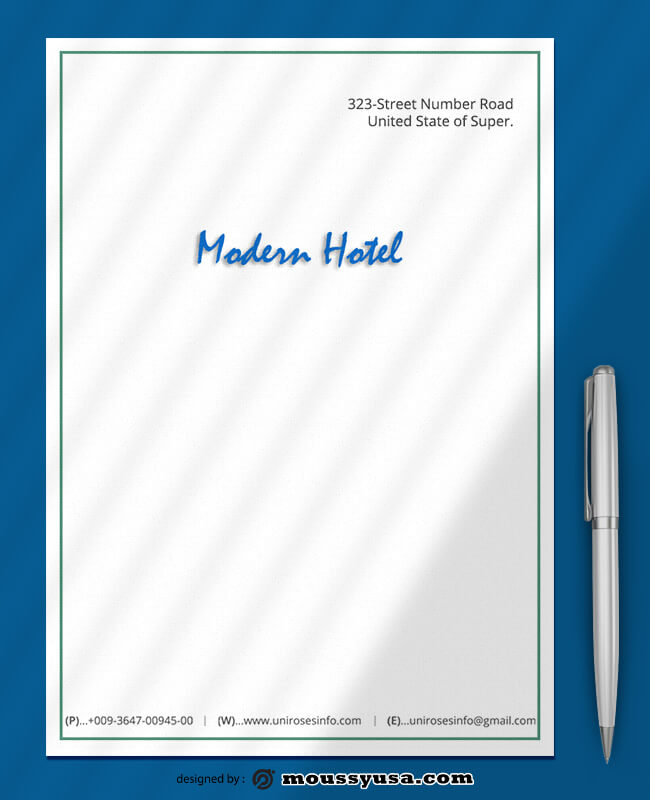 PSD Template For Modern Hotel Letterhead