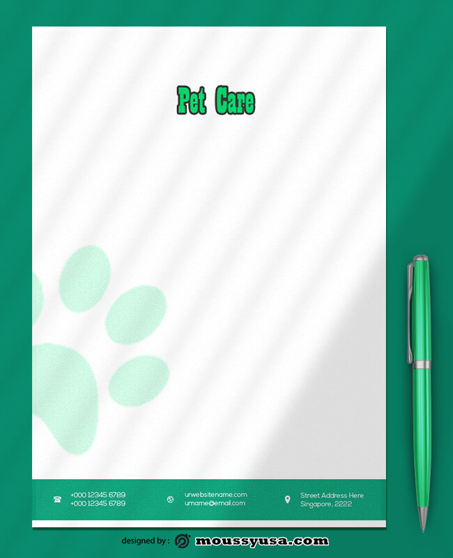 PSD Template For Pet Care Letterhead