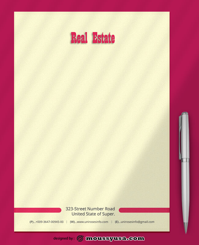 PSD Template For Real Estate Letterhead