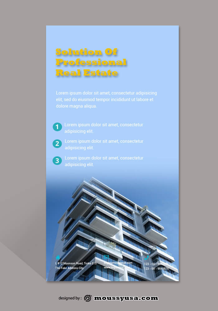 PSD Template For Real Estate Rack Card