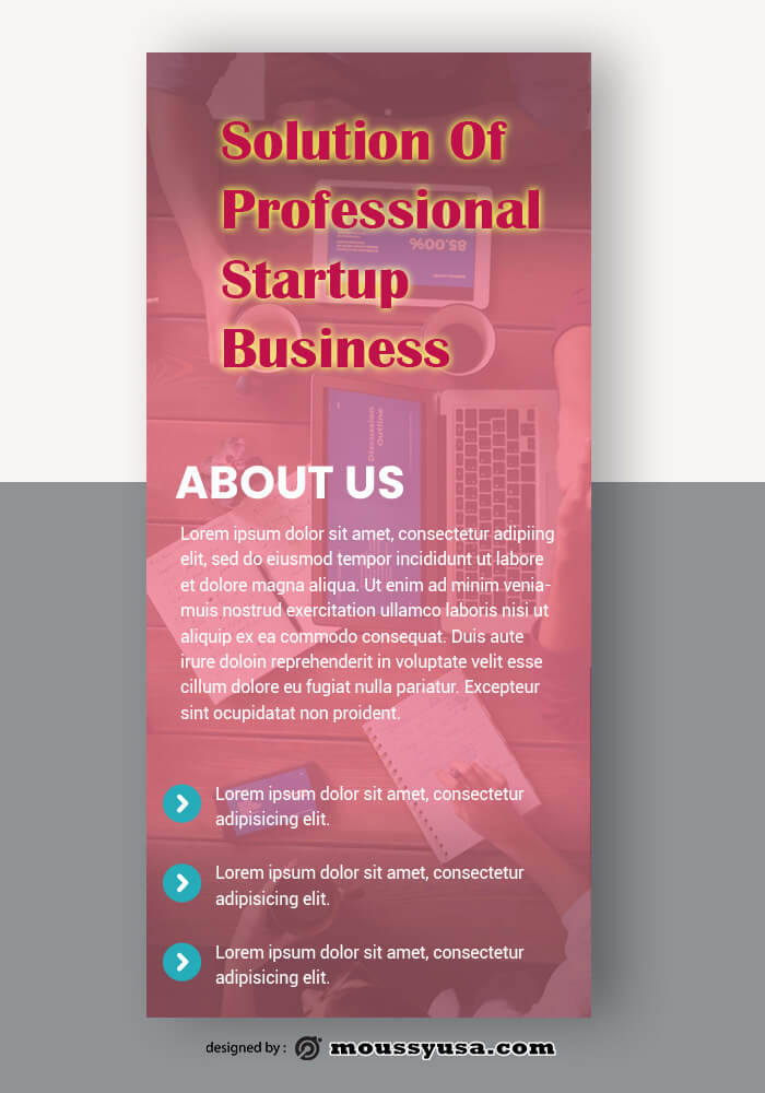 PSD Template For Startup Business Rack Card