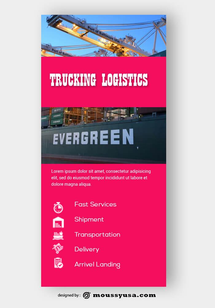PSD Template For Trucking Logistics Rack Card