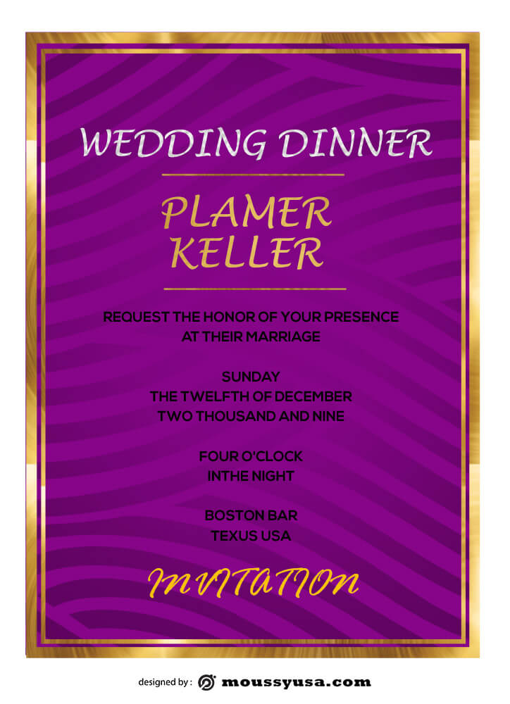 PSD Wedding Dinner Invitation Template