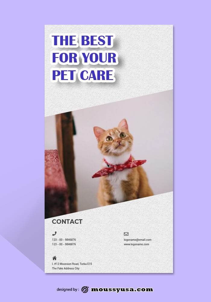 Pet Care Rack Card Template Sample