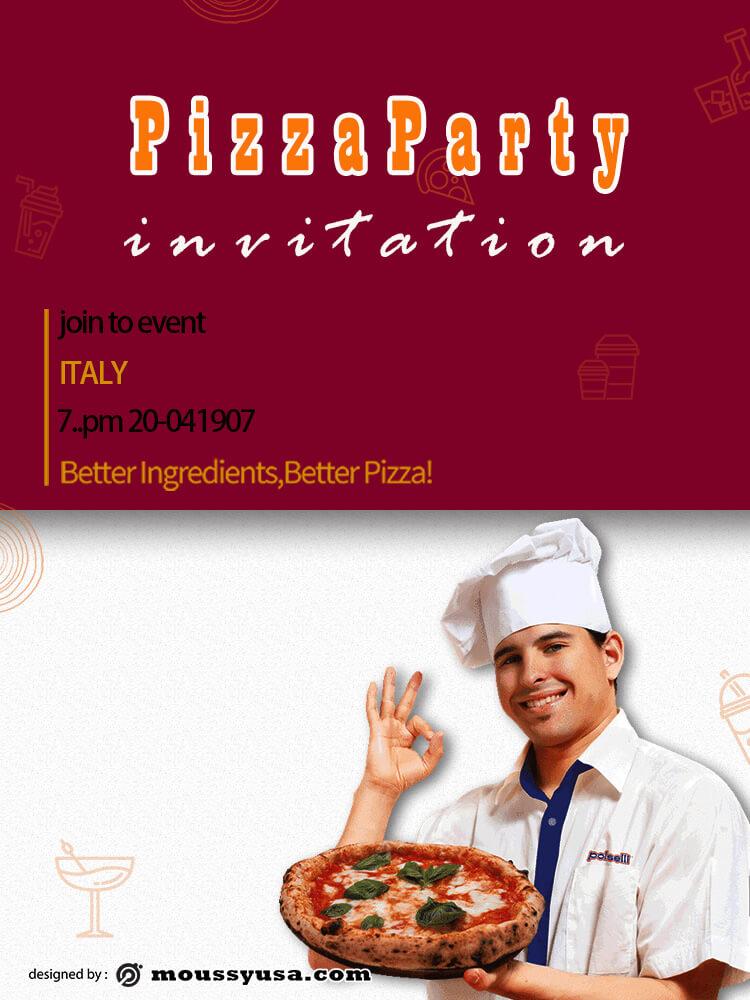 Pizza Party Invitation Template Sample
