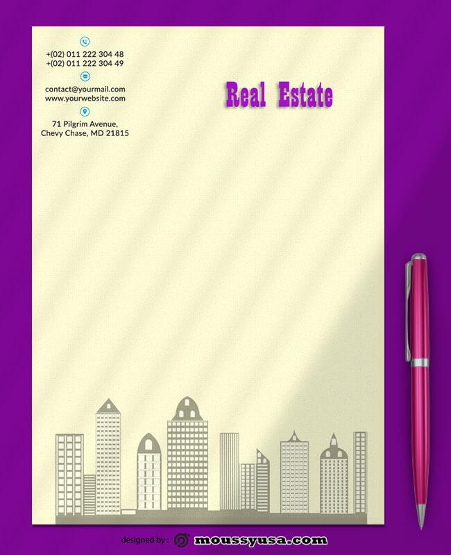 Real Estate Letterhead Design PSD