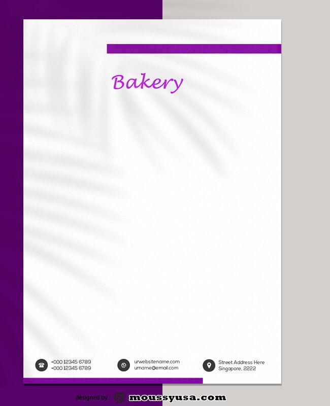 Sample Bakery Letterhead Template